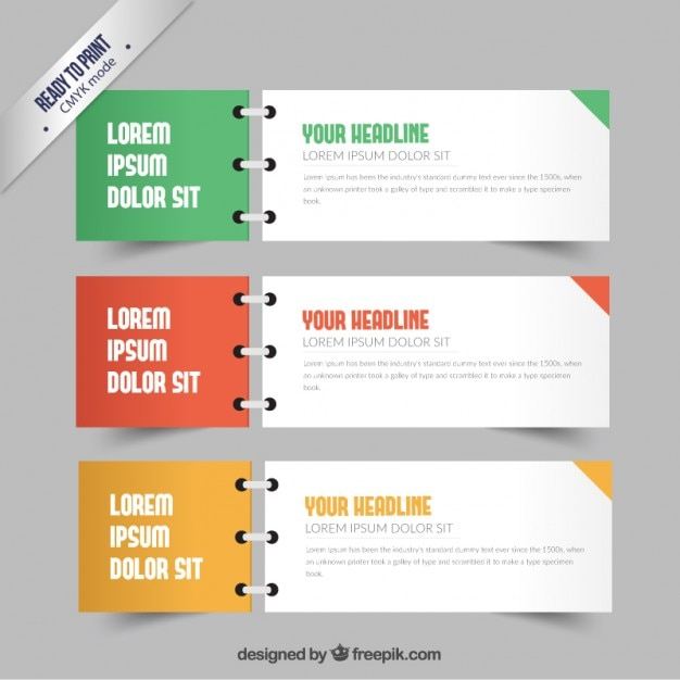 Banners In Notebook Style Vector Free Download