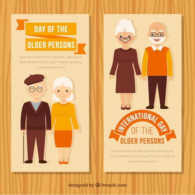 Banners in vintage style of older\ couples