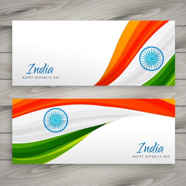 Banners of india republic day Free Vector
