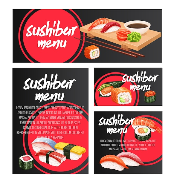 Баннеры японский дизайн морепродукты суши бар Premium векторы