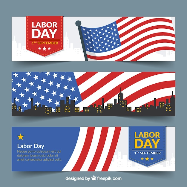 Banners for labor day with waving flang and skyline Free Vector