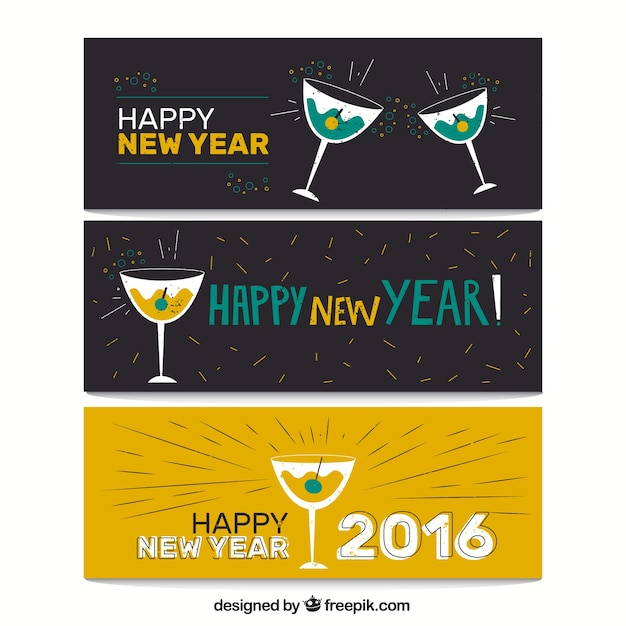 Banners of new year 2016 Free Vector