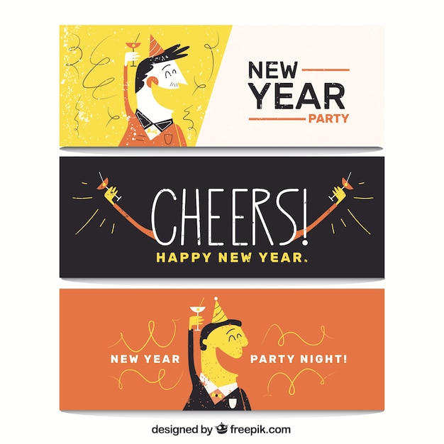 Banners of new year party Free Vector
