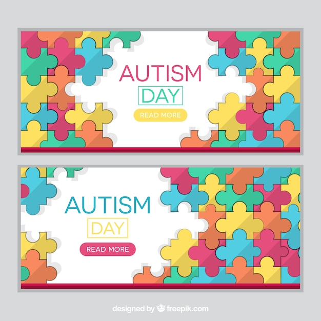 banners of autism puzzle pieces vector free download