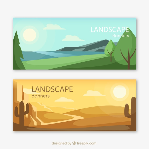 Banners of beautiful landscapes Free Vector