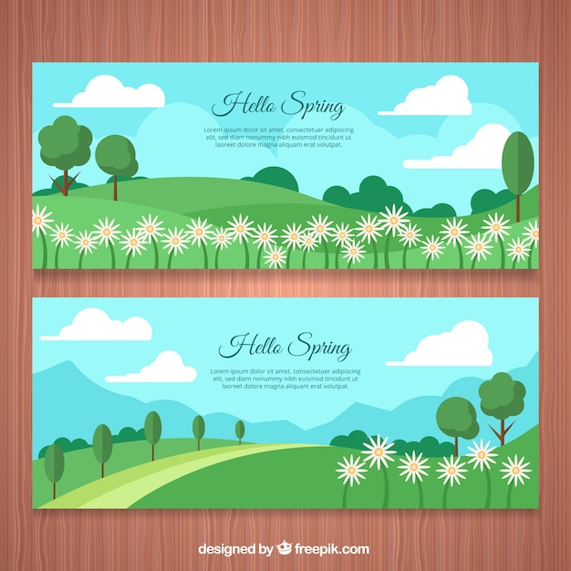 Banners of beautiful spring landscapes