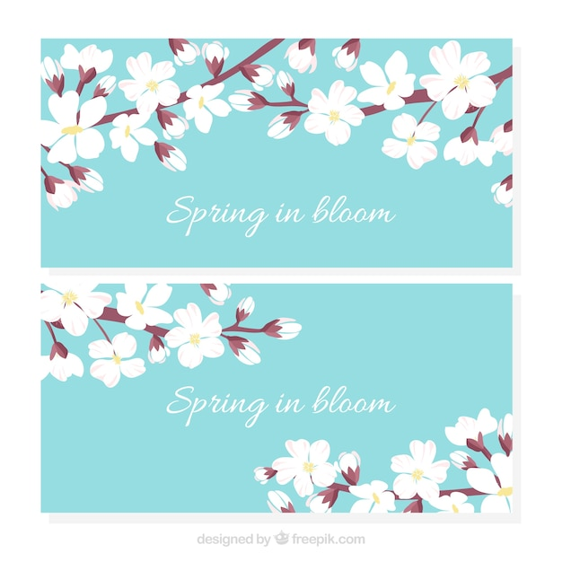 Banners of cherry blossoms Free Vector