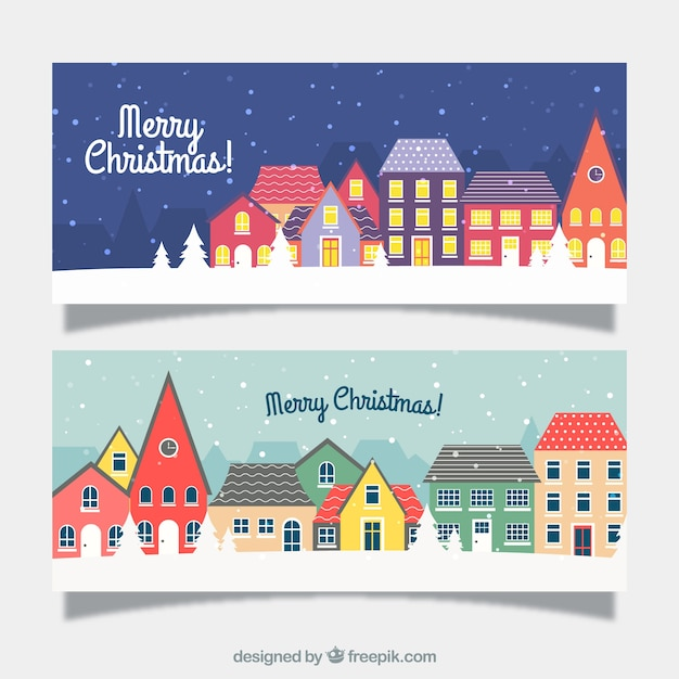 Banners of christmas cities Free Vector