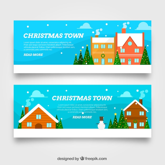 Banners of christmas houses in flat design