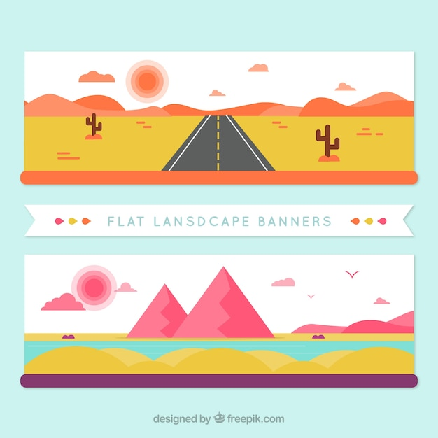 Banners of desert landscapes