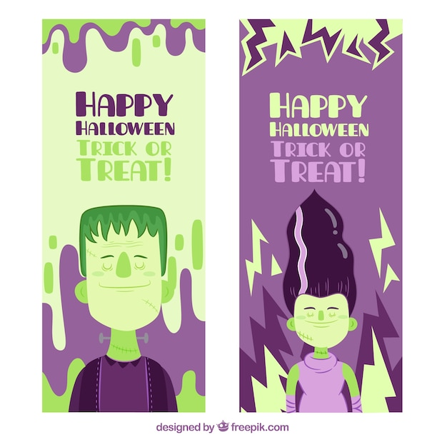 Banners of funny halloween zombie characters