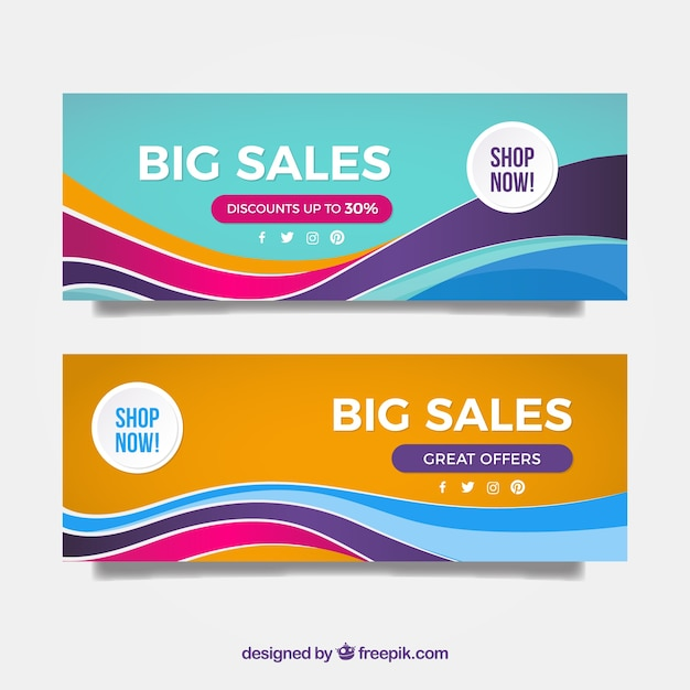 Banners of great discounts with colorful waves Free Vector