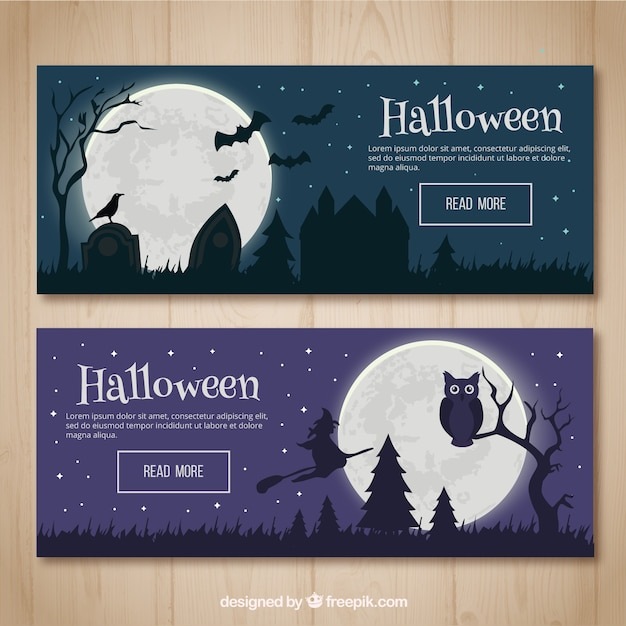 Banners of halloween night landscapes Free Vector