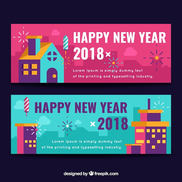banners of happy new year 2018 in flat design free vector