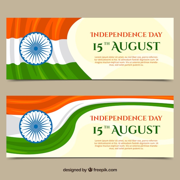 Indian flag vectors photos and psd files free download banners of independence day of india with flags stopboris Image collections