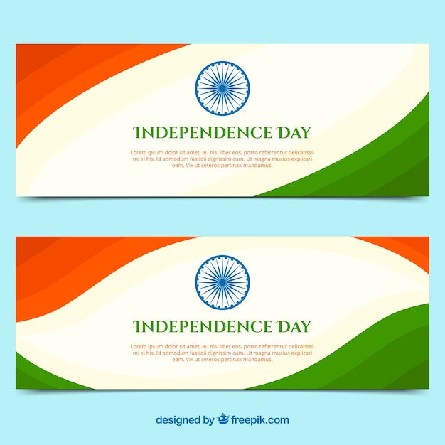 Banners of indian independence day with flat design