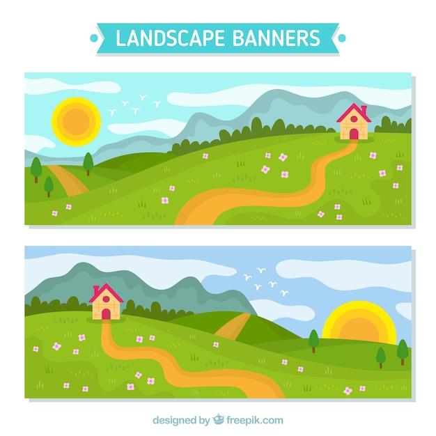 Баннеры пейзаж с коттедж в поле Бесплатные векторы
