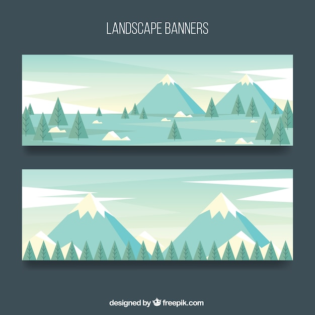 Banners of mountain landscapes with pine trees\ in flat design