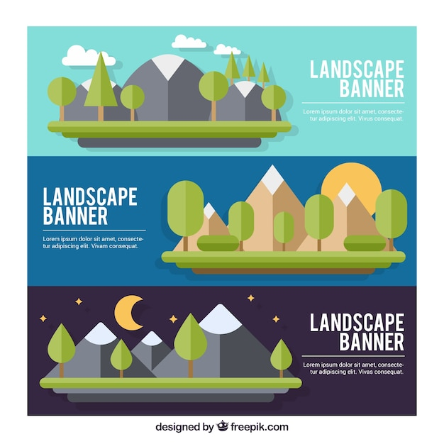 Banners of mountanous landscapes in flat\ design