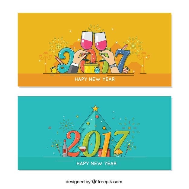 Banners of new year 2017 party\ celebration
