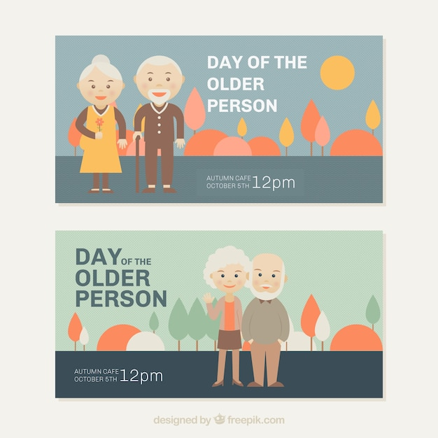 Banners of older perons day in pastel\ colors