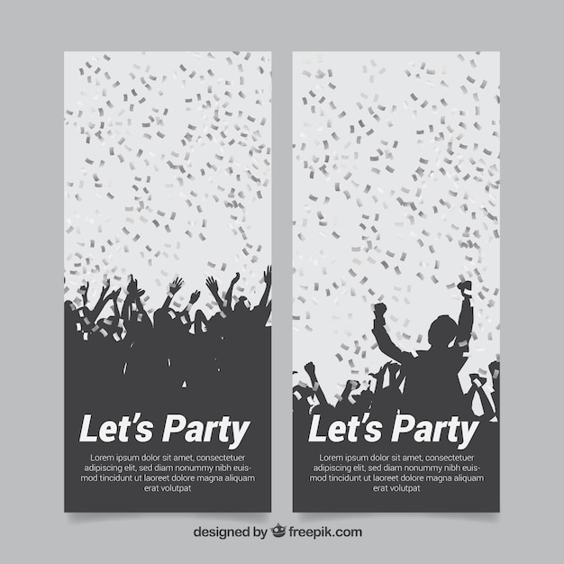 Banners of party crowd with silver\ confetti