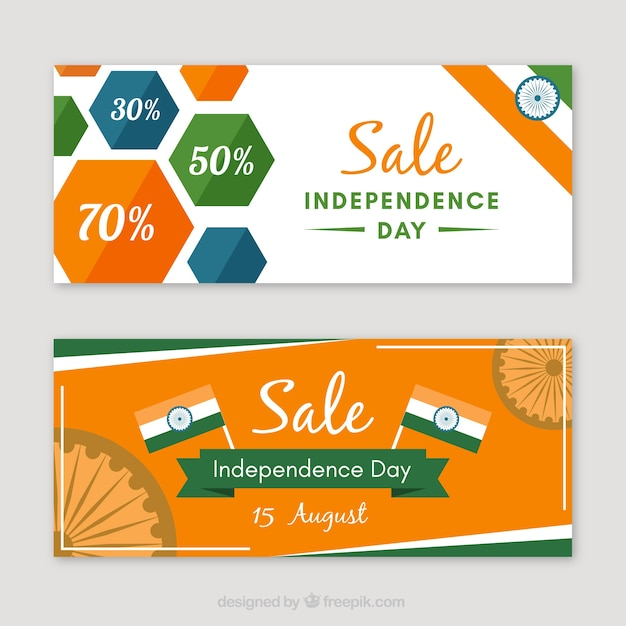Banners of sales and indian independence day