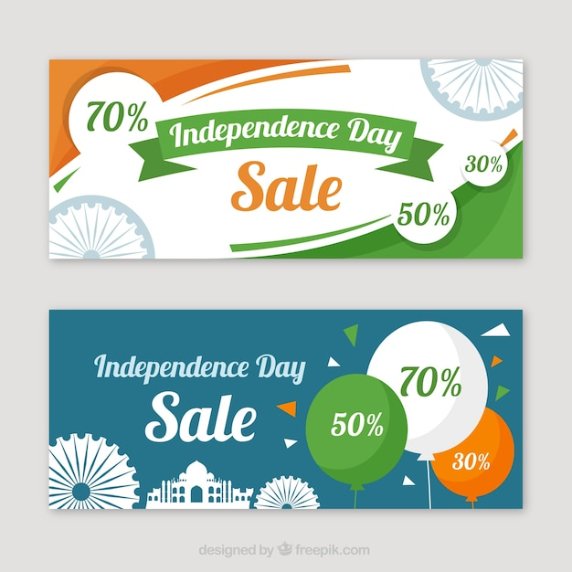 Banners of sales and indian independence with balloons