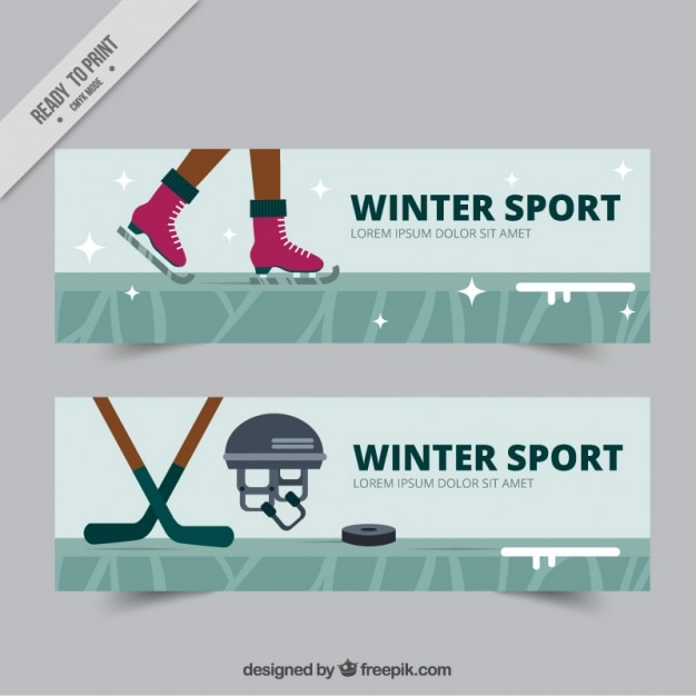 Banners of skating and hockey