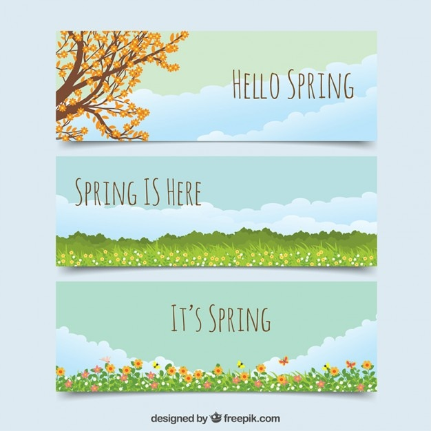 Banners of spring landscapes