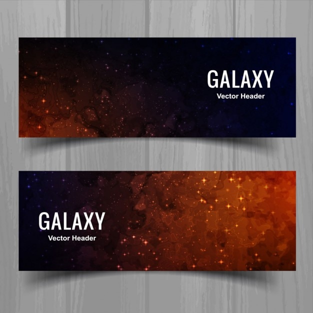 Banners of starry sky watercolor Free Vector