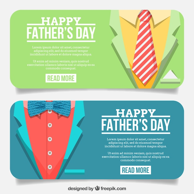 banners of suit with necktie and bow tie