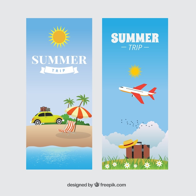 Banners of summer trip
