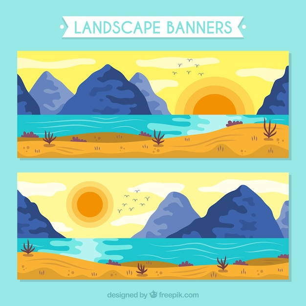 Banners of sunny landscapes with\ mountains