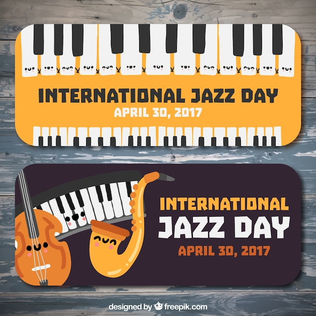 Banners of the international day of jazz with musical instruments
