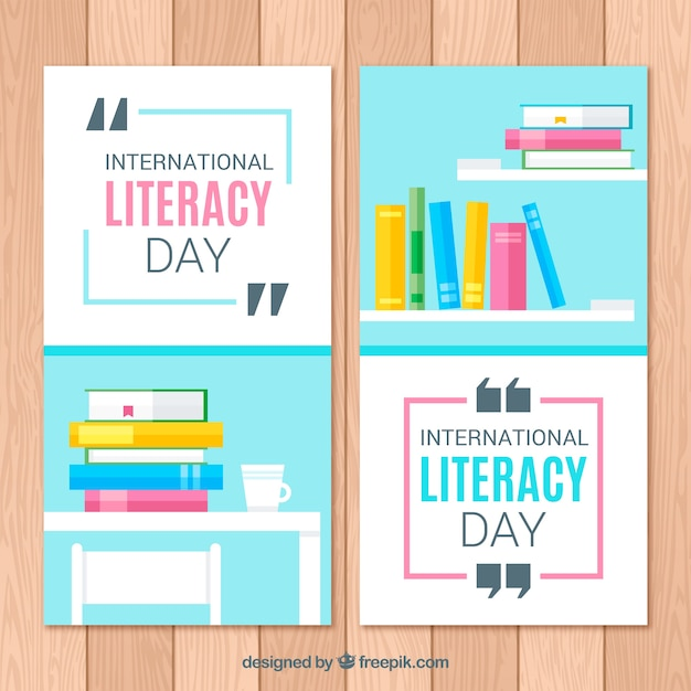 Banners of the international day of literacy with books in flat design