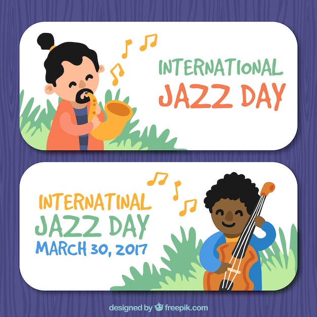Banners of the international jazz day with hand painted characters