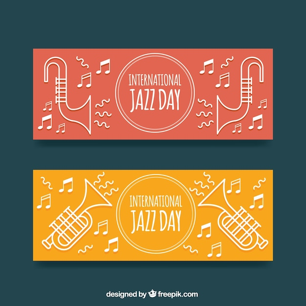 Banners of the international jazz day with musical elements