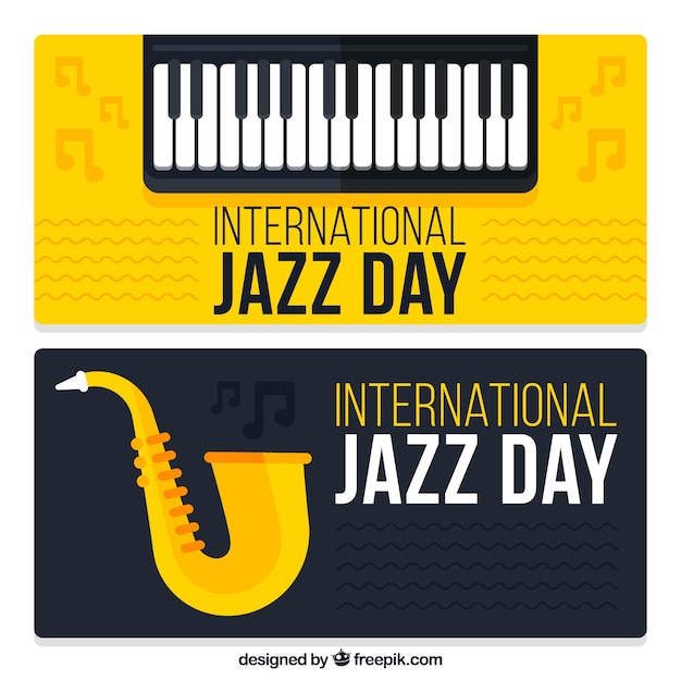 Banners of the international jazz day with musical instruments
