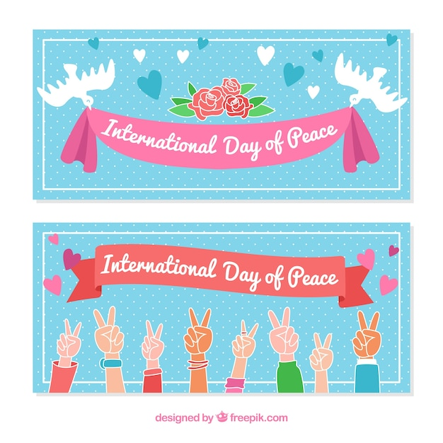 Banners of the international peace day with drawings