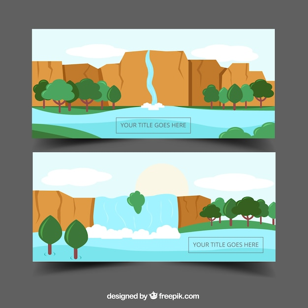 Banners of waterfalls landscapes