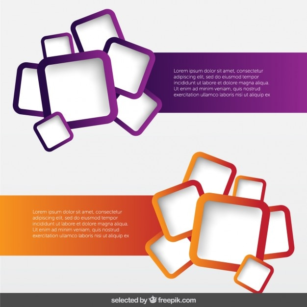 banners pack with rounded squares vector free download