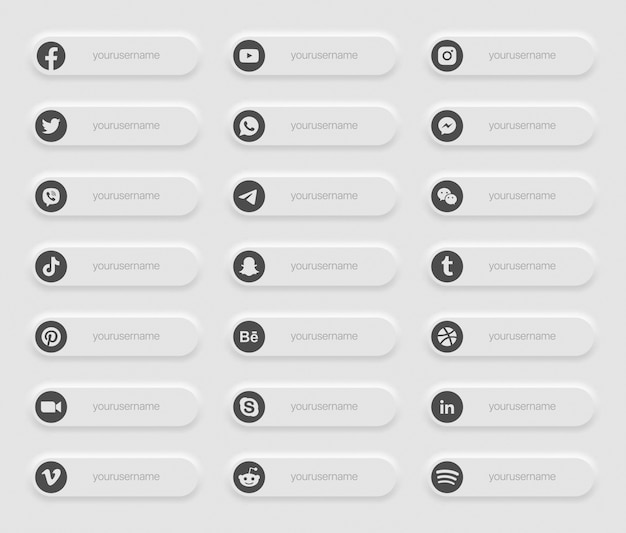 Banners popular social media lower third icons Premium Vector