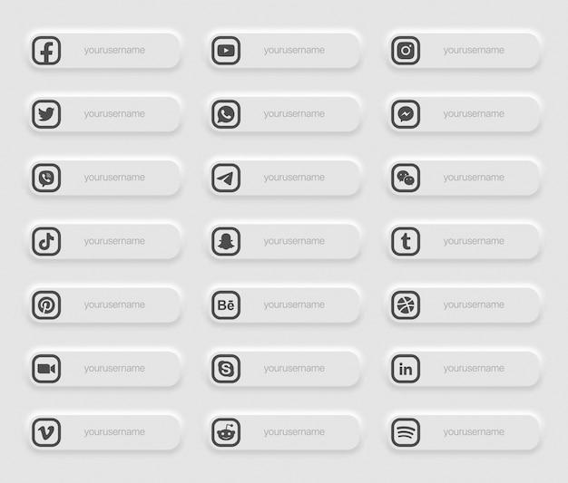 배너 인기있는 소셜 미디어 더 낮은 세 번째 아이콘 프리미엄 벡터
