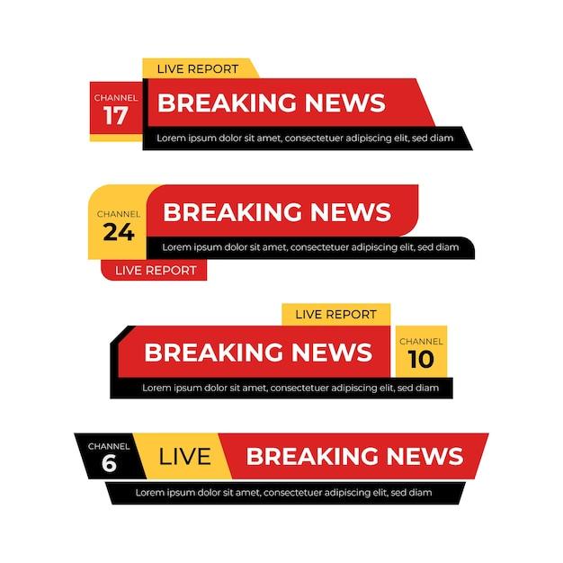 ニュース速報の赤と黄色のバナー 無料ベクター