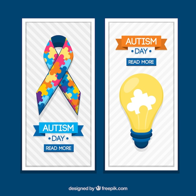 Banners ribbon and lightbulb for autism day Free Vector