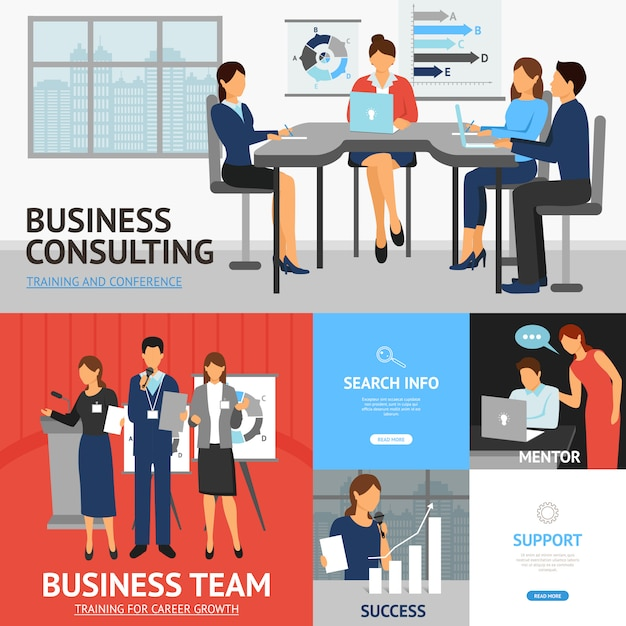 Banners set of business training Free Vector