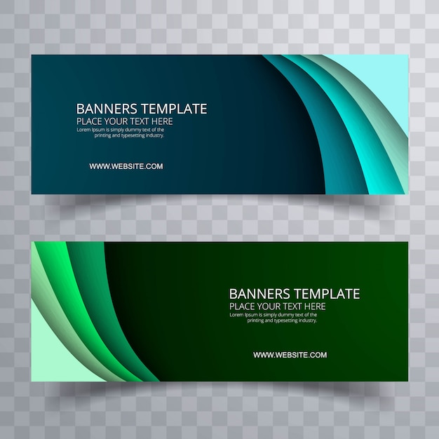 Banners set colorful template wave design vector Free Vector