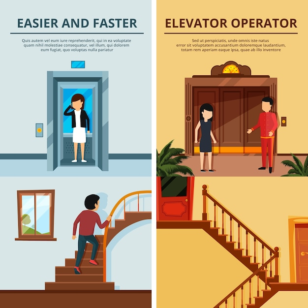 Banners set of different modern stairs and elevators. hall of motel with wood lift. elevator lift door, stair and staircase Premium Vector