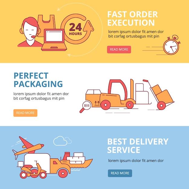 物流と配送のビジネステーマに設定されたバナー Premiumベクター